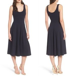 Leith   Black Sleeveless Stretch Knit Midi Dress